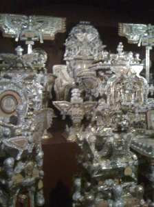 Made entirely of tin foil and cardboard.